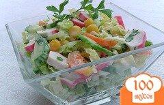 Фото рецепта: «Салат из пекинской капусты,кукурузы и крабовых палочек»