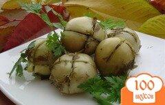Фото рецепта: «Зеленые помидоры с чесноком и зеленью»