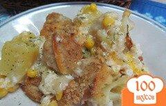 Фото рецепта: «Картофельная запеканка с домашней колбасой и цветной капустой»