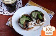 Фото рецепта: «Тосты с творогом и грибами для диеты Дюкана»