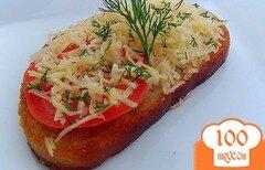 Фото рецепта: «Гренки с помидорами, чесноком и сыром»