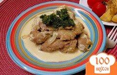 Фото рецепта: «Печень куриная жареная с луком в сметане»