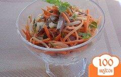 Фото рецепта: «Салат из моркови, сердца и маринованного лука»