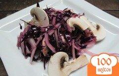 Фото рецепта: «Салат из краснокочанной капусты с шампиньоном»