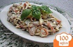 Фото рецепта: «Салат с крабовыми палочками и грибами»