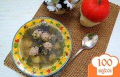 Фото рецепта: «Суп с фрикадельками и опятами»