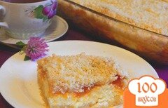 Фото рецепта: «Насыпной пирог с творогом и персиками»