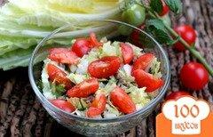 Фото рецепта: «Салат из пекинской капусты, с говядиной, сыром и помидорами»
