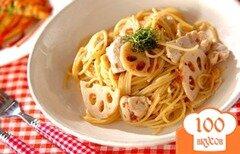 Фото рецепта: «Спагетти с курицей, заправленные соусом из слив»