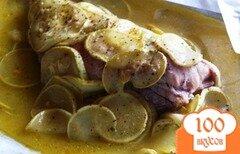 Фото рецепта: «Морской окунь, запеченный с цуккини в апельсиновом соусе»