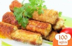 Фото рецепта: «Рыбные палочки в вафельных трубочках»