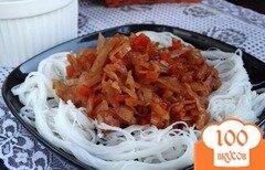 Фото рецепта: «Фунчоза с тушеной капустой»