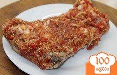 Фото рецепта: «Сало маринованное во французской горчице и острой аджике»