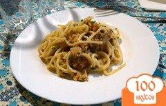 Фото рецепта: «Спагетти с вешенками и курицей в белом соусе»