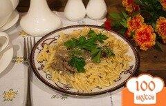 Фото рецепта: «Тушеная куриная печень с луком в сливках»