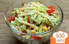 Фото рецепта: «Салат из пекинской капусты, кукурузы, красного перца и сыра»