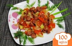 Фото рецепта: «Рагу с охотничьими колбасками в мультиварке»