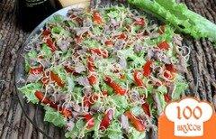 Фото рецепта: «Зеленый салат с утиной грудкой и болгарским перцем»