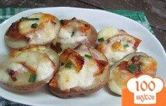 Фото рецепта: «Запеченный картофель под беконом и тыквой»