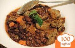 Фото рецепта: «Куриная печень с фасолью в томатном соусе»