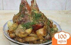 Фото рецепта: «Запеченный маринованный цыпленок с картофелем»