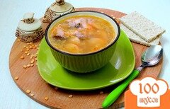 Фото рецепта: «Суп пюре гороховый с копчёностями и сосисками»