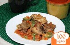 Фото рецепта: «Курица тушеная с печенью и овощами в сливках»