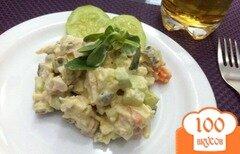 """Фото рецепта: «Салат """"Оливье"""" с двумя видами мяса»"""