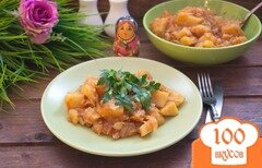 Фото рецепта: «Картофель тушеный с квашенной капустой и грудинкой»