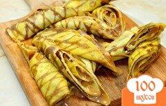 Фото рецепта: «Шоколадно - ванильные блины с вареной сгущенкой и грецкими орехами»