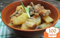 Фото рецепта: «Жаркое из шампиньона свинины с картофелем»