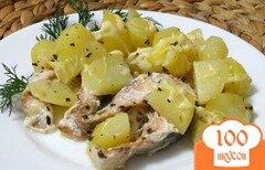 Фото рецепта: «Горбуша запеченная с картофелем и сыром»