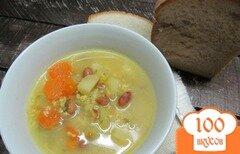 Фото рецепта: «Суп с пшеном фасолью и замороженными овощами»