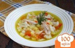 Фото рецепта: «Куриный суп с овощами и пастой орзо»