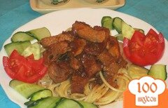 Фото рецепта: «Свинина в остром соусе со спагетти»