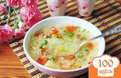 Фото рецепта: «Овощной суп с кукурузой и зеленым горошком»