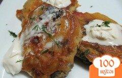 Фото рецепта: «Оладьи с грибами и беконом»