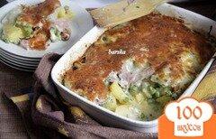 Фото рецепта: «Гратин из картофеля и замороженых овощей, с ветчиной»