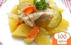 Фото рецепта: «Картофель запеченный в рукаве с куриным филе и овощами»