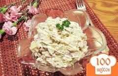 Фото рецепта: «Салат с отварной курицей и маринованными грибами»
