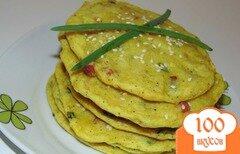Фото рецепта: «Картофельные лепешки с ветчиной и зеленым луком»
