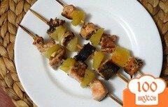 Фото рецепта: «Рыбно-ананасовые шашлычки в духовке»