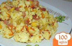 Фото рецепта: «Каша из пшена с ветчиной, овощами и кукурузой»