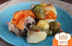 Фото рецепта: «Курица запеченная со стручковой фасолью и брюссельской капустой»