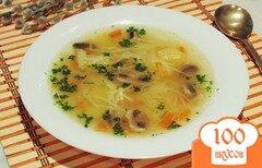 Фото рецепта: «Вегетарианский суп с вермишелью и грибами»