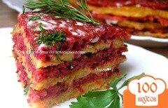 Фото рецепта: «Закусочный блинно-овощной торт»