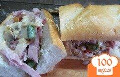 Фото рецепта: «Бутерброд с грибным соусом и копченной грудинки»