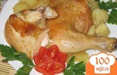 Фото рецепта: «Курица запеченная с картофелем в духовке»