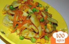 Фото рецепта: «Стручковая фасоль с кукурузой и зеленым горошком»