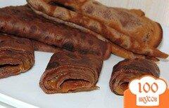 Фото рецепта: «Шоколадные блины с вареной сгущенкой»